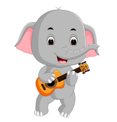 elephant playing guitar vector image