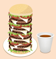 Juicy Cheese Burger with Disposable Coffee Cup vector image