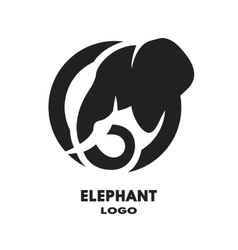 Silhouette of the elephant logo vector image