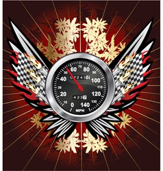 speedometer with floral vector image vector image