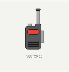 line flat color military icon - radio set vector image