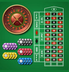online casino roulette and gambling table with vector image