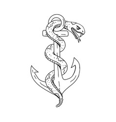 rattlesnake coiling on anchor drawing vector image