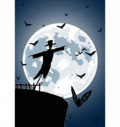 scarecrow with full moon vector image