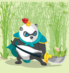 warrior armor china panda character vector image