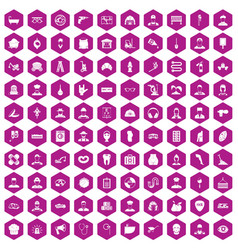 100 different professions icons hexagon violet vector
