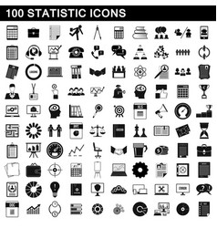 100 statistic icons set simple style vector image