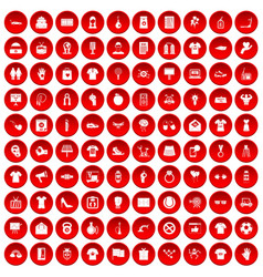 100 t-shirt icons set red vector