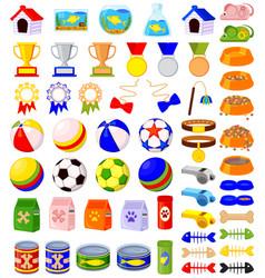 56 colorful cartoon pet shop elements set vector image