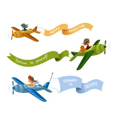 Airplanes with ribbon vector