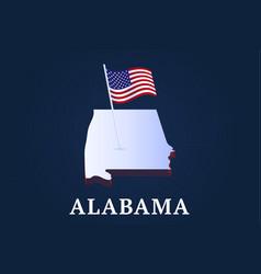 alabama state isometric map and usa natioanl flag vector image