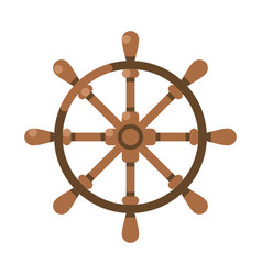 ancient wooden ships wheel front view flat vector image