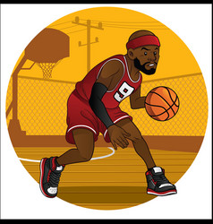 Basketball player dribbling the ball vector