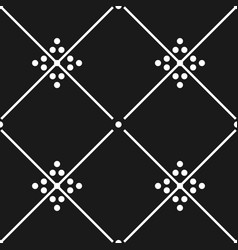 black and white decorative floor tiles pattern vector image