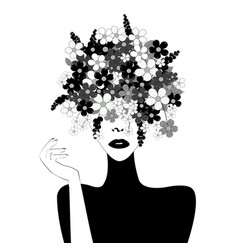 black and white stylized woman with flowers in vector image