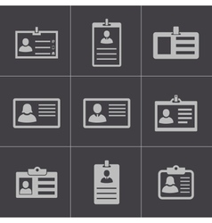 black id card icons set vector image