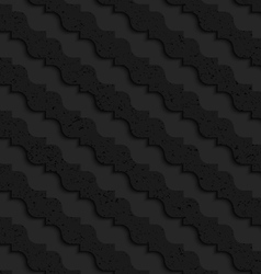 Black textured plastic diagonal pointy waves vector