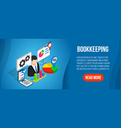 Bookkeeping concept banner isometric style vector