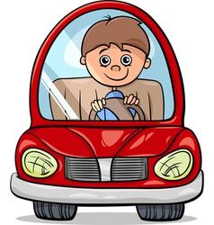 boy in car cartoon vector image