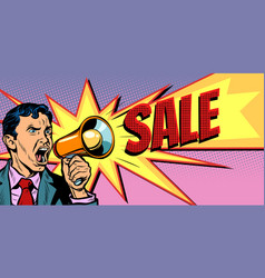 businessman with megaphone sale background vector image