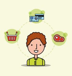 cartoon man customer basket meat and bank cards vector image