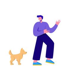 Character man is afraid a dog vector