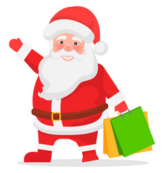 christmas sale santa claus with packages vector image