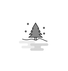 christmas tree web icon flat line filled gray icon vector image