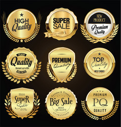 collection retro gold and black badge and vector image