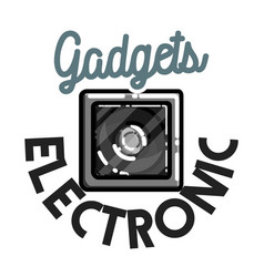Color vintage electronic gadgets emblem vector