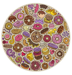 colorful hand drawn set of donuts cartoon vector image