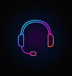 colorful headset icon support service vector image