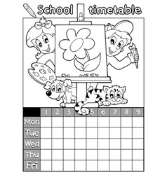 Coloring book timetable topic 1 vector