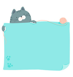 Cute blue cat hold empty board vector