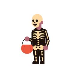 cute boy wear skeleton scarecrow costume happy vector image
