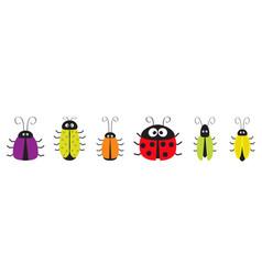 cute bug cockroach set line funny cartoon vector image