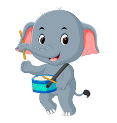 cute elephant playing drum vector image