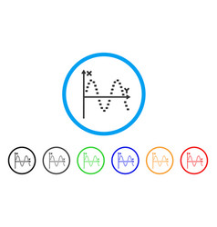 dotted sine plot rounded icon vector image
