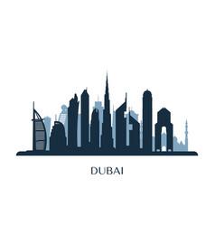 dubai skyline monochrome silhouette vector image