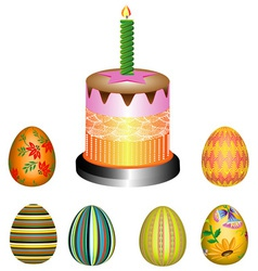Easter eggs with a pie vector image