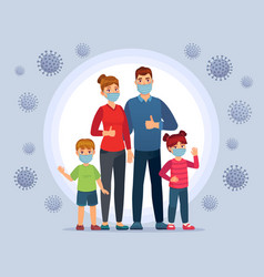Family wearing coronavirus protection masks face vector