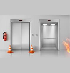 fire in hallway elevator doors and extinguisher vector image