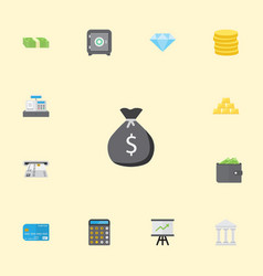 Flat icons bank till ingot and other vector