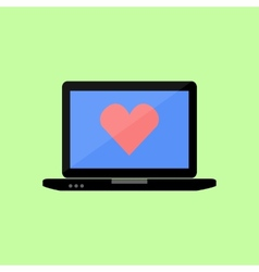 Flat style laptop with red heart vector image vector image