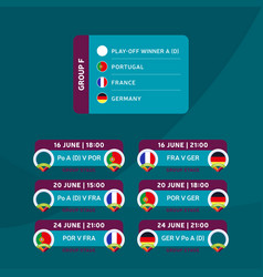 football 2020 tournament final stage group f vector image