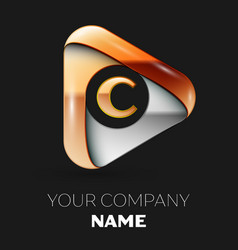 golden letter c logo in golden-silver triangle vector image