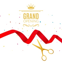 Grand Opening design template with ribbon and vector image