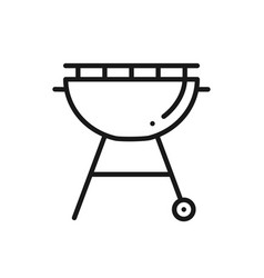 Grill line icon roaster bbq charcoal grill sign vector