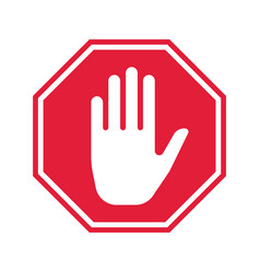 hand stop icon prohibition sign vector image