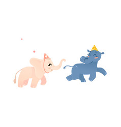 Hippo and elephant in birthday hats play tag vector